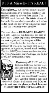 Original K.E.N.T. Back Cover